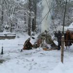 三千院さんの左義長は大雪の中行われました